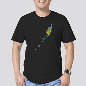 Palau Flag And Map Men's Fitted T-Shirt (dark)
