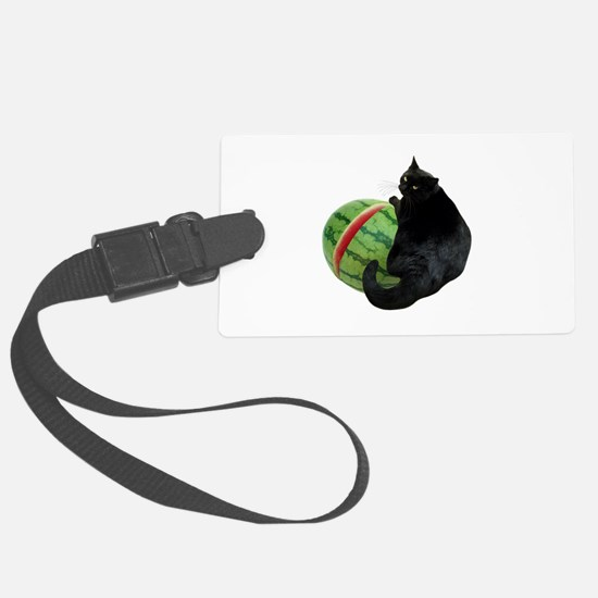 Cat with Watermelon Luggage Tag