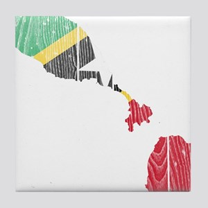 Saint Kitts And Nevis Flag And Map Tile Coaster