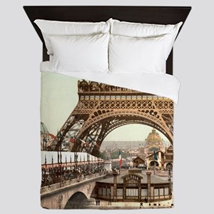 Vintage Eiffel Tower Queen Duvet