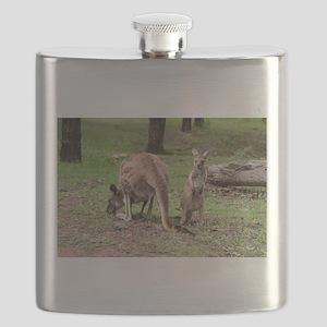 Mother kangaroo and baby joey Flask
