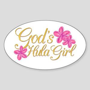 God's Hula Girl Oval Sticker