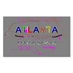Modern Atlanta Peach of the S Sticker (Rectangular