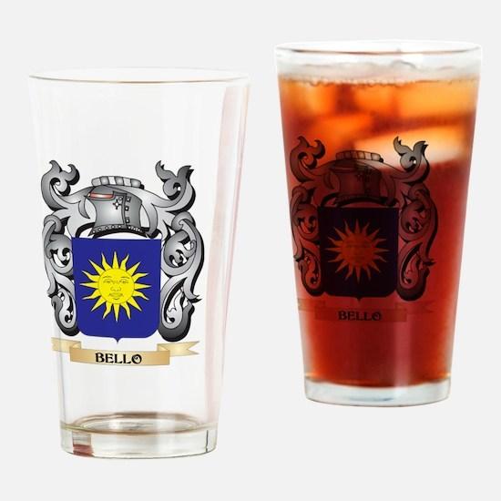Bello Family Crest - Bello Coat of Drinking Glass