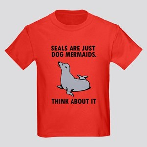 Seals are just dog mermaids. Kids Dark T-Shirt