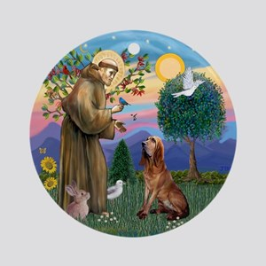 St Francis-Bloodhound Ornament (Round)