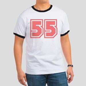 Varsity Uniform Number 55 (Pink) Ringer T