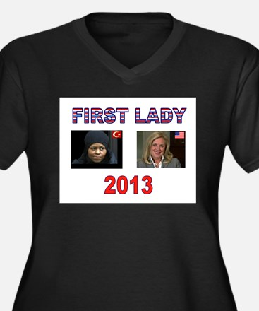 FIRST LADY Women's Plus Size V-Neck Dark T-Shirt