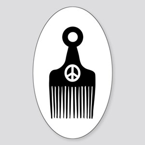 Afro Hair Peace Sticker (Oval)