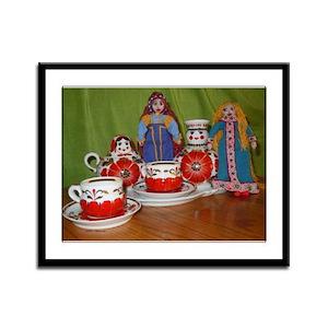 Russian Doll Tea Time Framed Panel Print