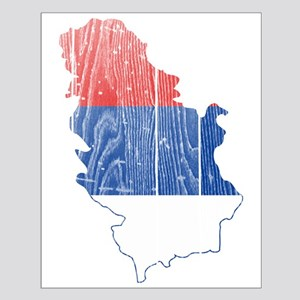 Serbia Civil Ensign Flag And Map Small Poster