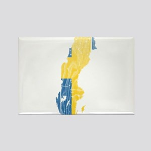Sweden Flag And Map Rectangle Magnet