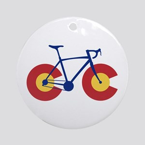 Colorado Flag Bicycle Round Ornament