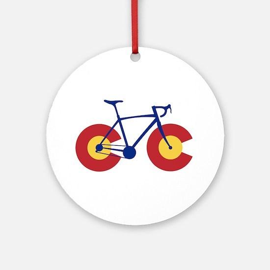 Colorado Flag Bicycle Round Ornament