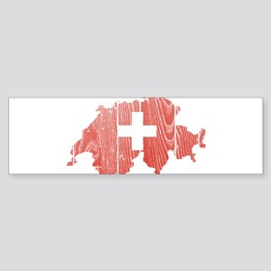 Switzerland Flag And Map Sticker (Bumper)