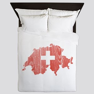 Switzerland Flag And Map Queen Duvet