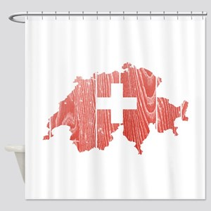 Switzerland Flag And Map Shower Curtain
