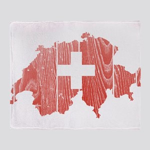 Switzerland Flag And Map Throw Blanket