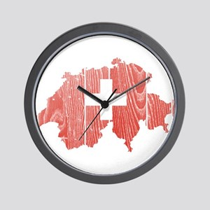 Switzerland Flag And Map Wall Clock