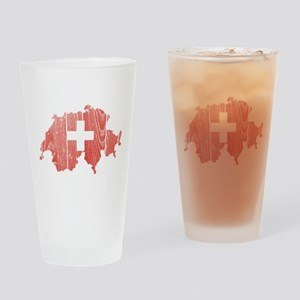 Switzerland Flag And Map Drinking Glass