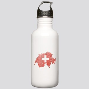 Switzerland Flag And Map Stainless Water Bottle 1.