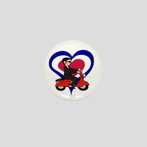 Mod love scooter boy Mini Button