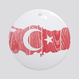 Turkey Flag And Map Ornament (Round)