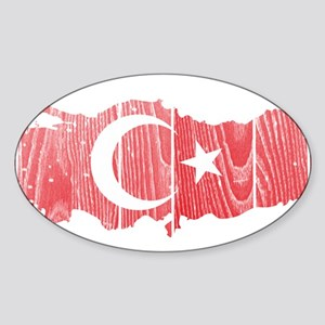 Turkey Flag And Map Sticker (Oval)