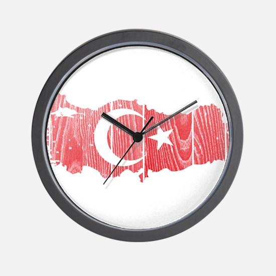Turkey Flag And Map Wall Clock