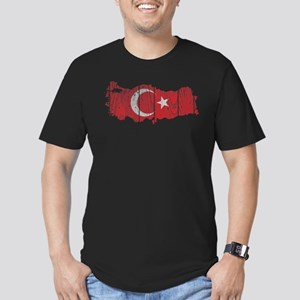 Turkey Flag And Map Men's Fitted T-Shirt (dark)