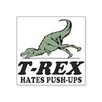 "T-REX Hates Pushups Square Sticker 3"" x 3"""