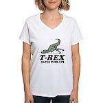 T-REX Hates Pushups Women's V-Neck T-Shirt
