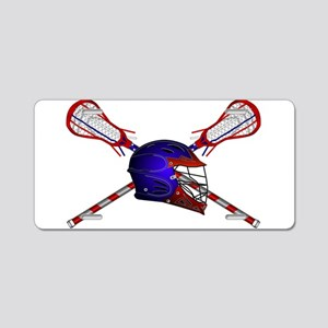 Lacrosse Helmet with sticks Aluminum License Plate