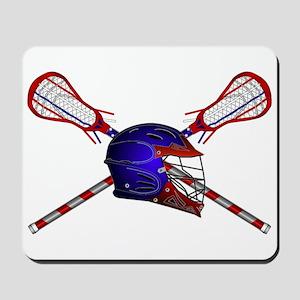 Lacrosse Helmet with sticks Mousepad