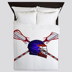 Lacrosse Helmet with sticks Queen Duvet