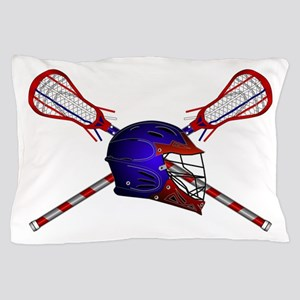 Lacrosse Helmet with sticks Pillow Case