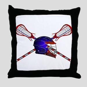 Lacrosse Helmet with sticks Throw Pillow