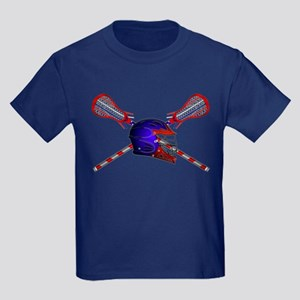 Lacrosse Helmet with sticks Kids Dark T-Shirt