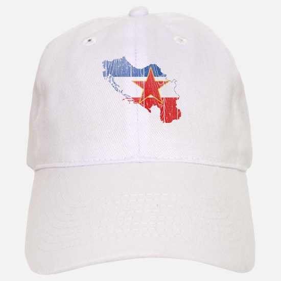 Yugoslavia Star Flag And Map Baseball Baseball Cap