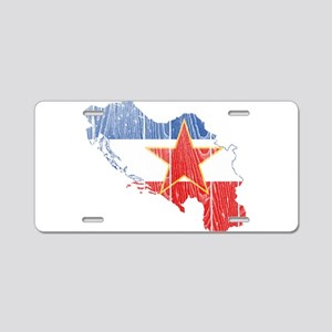 Yugoslavia Star Flag And Map Aluminum License Plat