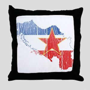 Yugoslavia Star Flag And Map Throw Pillow