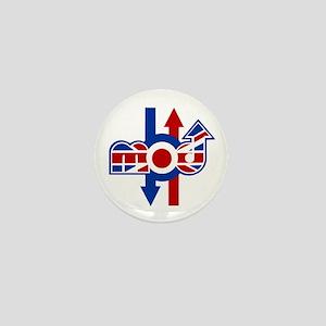 Retro mod logo and arrows Mini Button