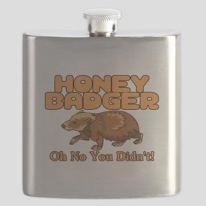 Oh No Honey Badger Flask