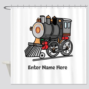 Personalized Train Engine Shower Curtain