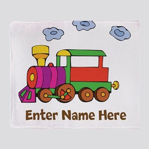 Personalized Train Engine Throw Blanket