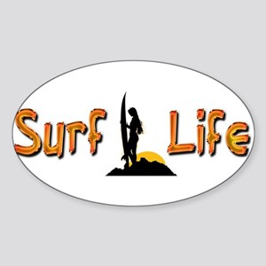 Surf Life girl silhouette Sticker (Oval)