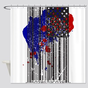 Barcode Flag Shower Curtain