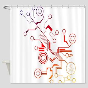 Rainbow Circuit Shower Curtain