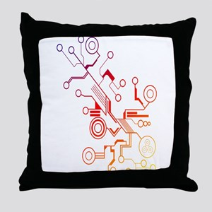 Rainbow Circuit Throw Pillow