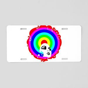Rainbow Afro Aluminum License Plate